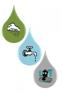 Total Water Footprint consists of green water, blue water, and gray water